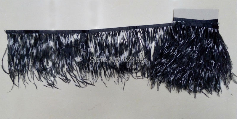 10yards/lot!15-18cm height!VOGUE OSTRICH Feather Fringe / Black and White,OSTRICH Feather Trim,freeshipping(China (Mainland))