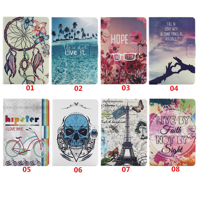 Skull Vintage Tower Floral Design Book Style Flip PU Leather Case Cover Samsung Galaxy Tab 9.7 T550 T555 Tablet Stand - APbest Electronic Store store