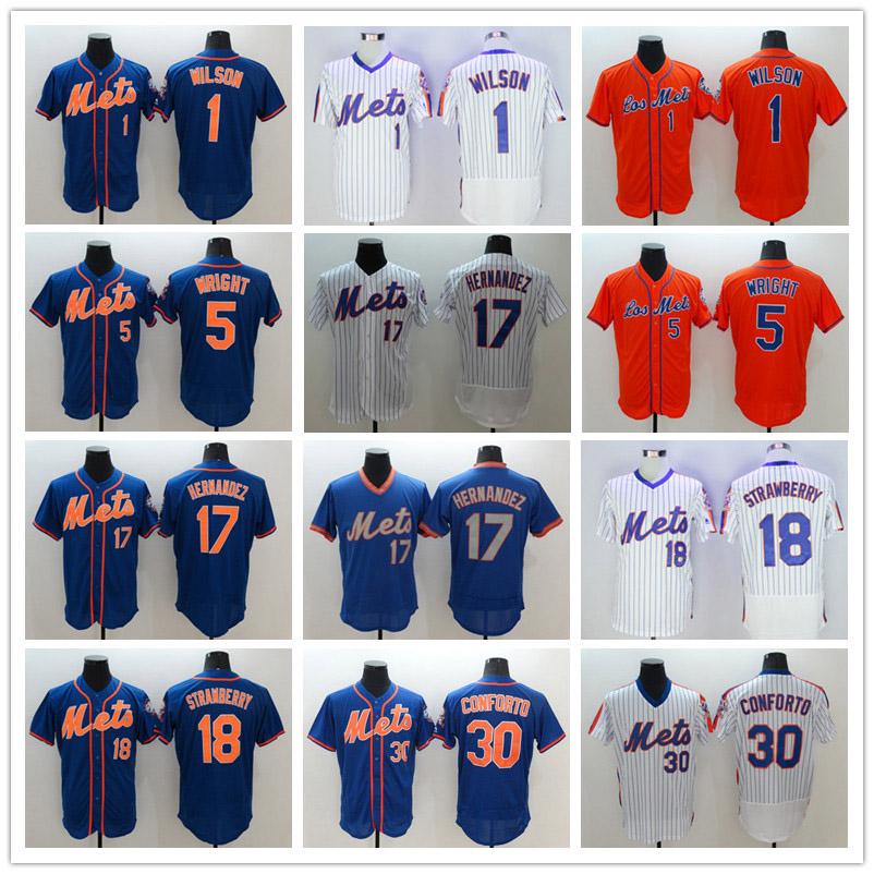 New colors 5 David Wright 18 Darryl Strawberry jersey white gray red blue Mens Size M-XXXL Free shipping(China (Mainland))