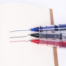 1 шт. черная красная ручка с синими чернилами канцелярская ручка для письма 0,5 мм прямая жидкая гелевая ручка для письма плавно высокое качес...(China)