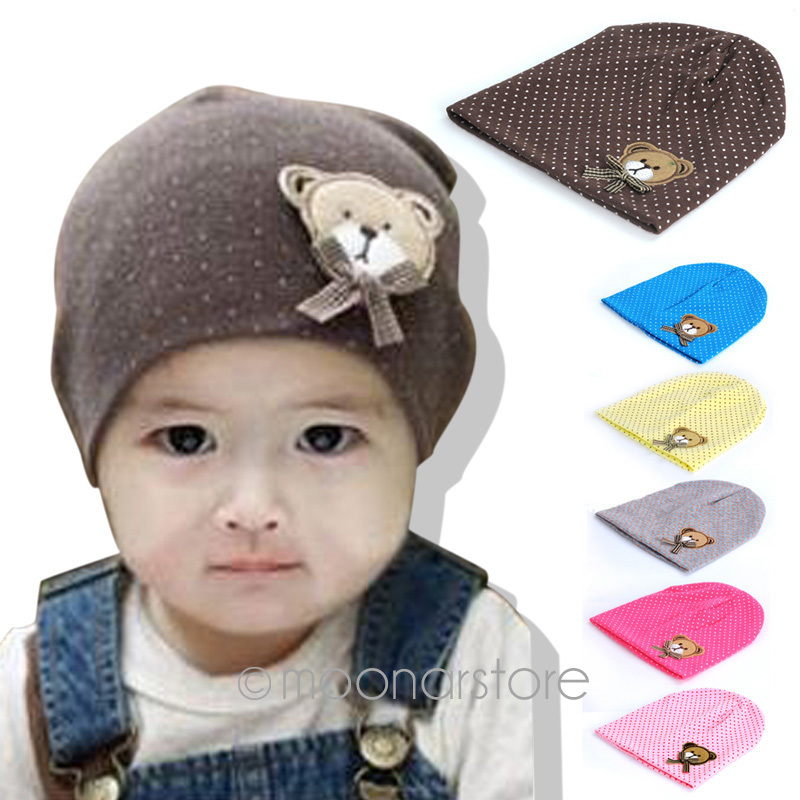 Cute Infant Baby Boys&Girls Kids Bear Polka Dots knit Candy Color Hat Cap for baby 0-12M XTZ388#S10(China (Mainland))