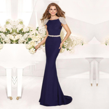 Sexy Back Sheer Cap Sleeve Sexy Lady Formal Dress More Color Choose Mermaid Gown Beads Sash Long Elegant Prom Dresses 2015 Hot(China (Mainland))