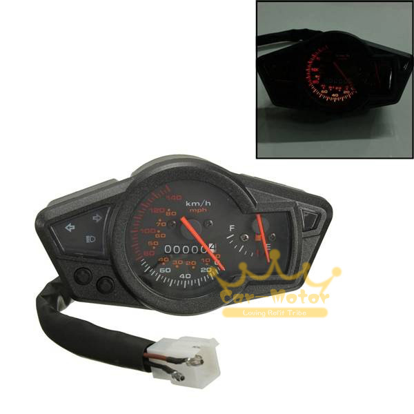 Universal MPH/KMH Motorcycle Odometer Speedometer Tachometer Gauge with Fuel Level Table Indicator Functions (0151)(China (Mainland))