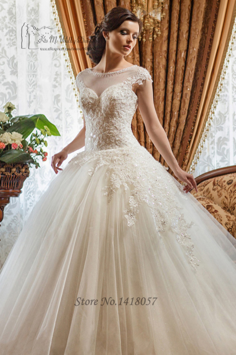 Buy vestidos de noiva luxury beaded for Plus size beaded wedding dresses