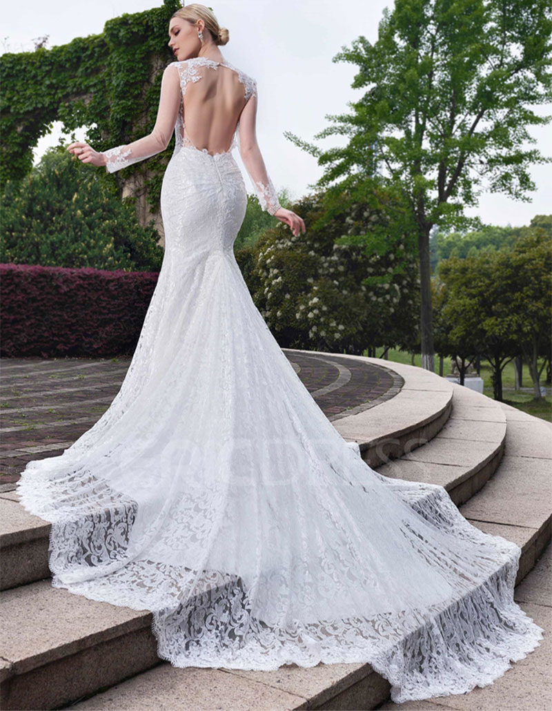 Online buy wholesale backless long sleeve lace wedding for Lace long sleeve backless wedding dress