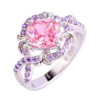 Fashion New Pink Topaz Amethyst 925 Silver NJewelry Ring For Women Size 6 7 8 9 10 Free Shipping Wholesale Valentines Gift