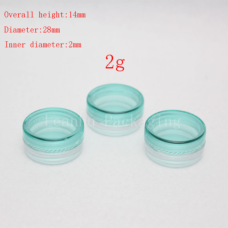 2g green empty cosmetic containers with screw cap, sample lip balm containers jar solid perfume container 2g plastic cream jars(China (Mainland))
