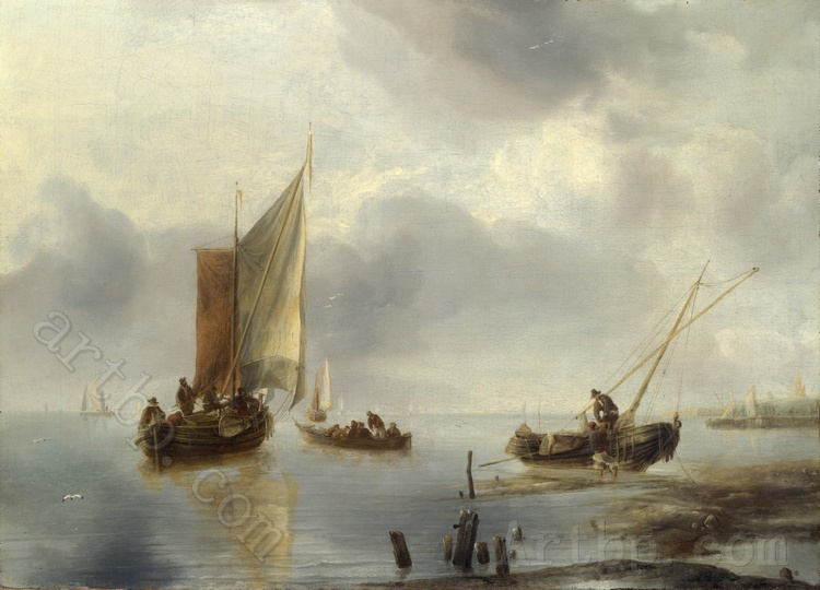 Jan van de Cappelle A Small Vessel in Light Airs and Another Ashore wall art decoration cheap country decorations High quality(China (Mainland))