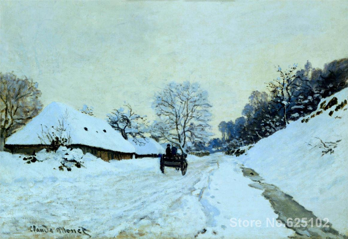 Impressionist artist,Cart on the Snow Covered Road with Saint-Simeon Farm by Claude Monet Reproduction,High quality,Handmade(China (Mainland))