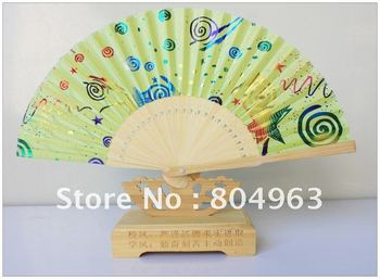 [China Confucian ]Free Shipping/L15CM*26RIBS Hand Fan,green fan in high quality,best gift for children or schoolmate