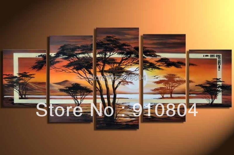 Encadr e 5 panneaux norme wall art peinture l 39 huile sur for Africa express presents maison des jeunes