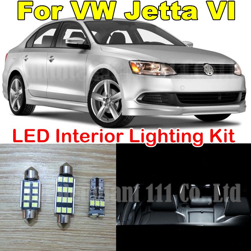 9X Canbus Pure White Error free W5W 36MM C5W Light Volkswagen VW Jetta VI MK6 Sedan LED Interior Package kit 2011+ - WLJH Carparts Store store