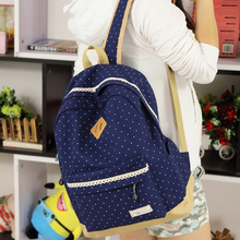 Hot Fresh Fashion Dot Printing Students School Bags  Women Backpacks High Quality Double Shoulder Canvas Backpack(China (Mainland))