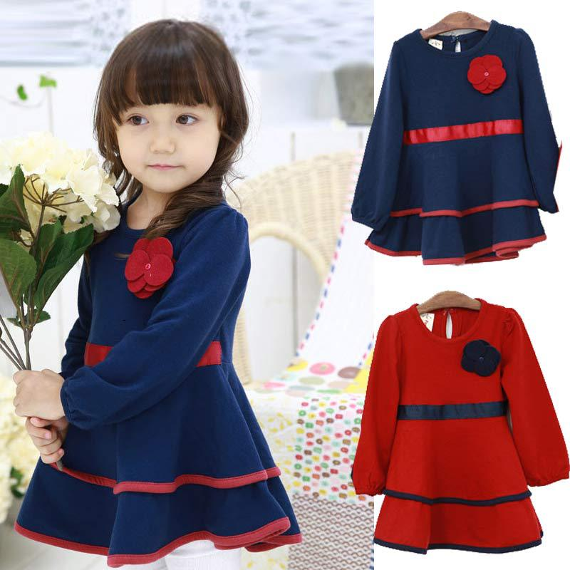 Hot Sale 2015 Autumn Winter Baby Girl Dress For Girls Clothes Children Kids Cotton Cartoon Princess Dresses Vestido Infanti Q16(China (Mainland))