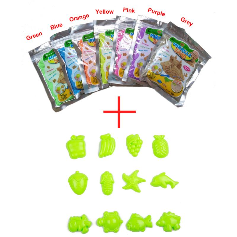 2015 Children Indoor Magic Sand Molds Set Includes 7 Different Colors Play Miracle Sand 100g/bag + 12pcs Fruit Animal Mold Toys