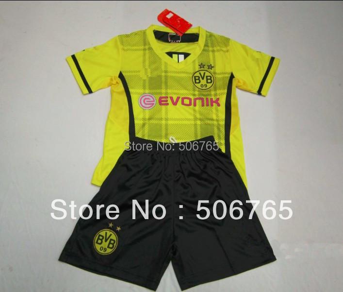 New Arrivals 13/14 Borussia Dortmund home kids soccer jerseys Original Logo football uniforms soccer wear Free shipping!(China (Mainland))
