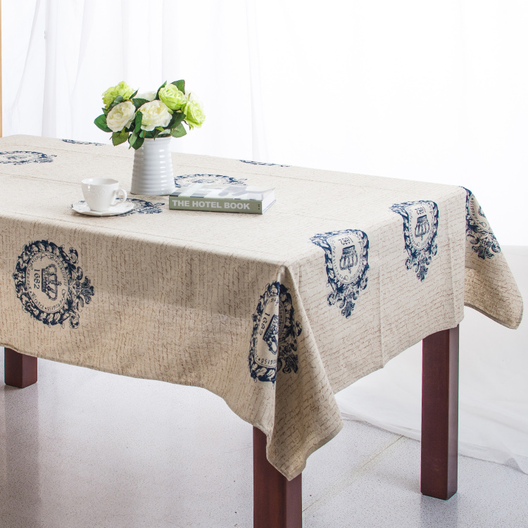 Linen Table Cloth European style Crown&Words Print Tablecloth Table Cover manteles para mesa High Quality Free Shipping(China (Mainland))