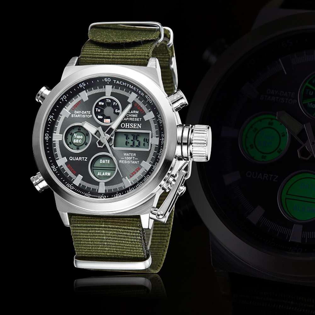 Fashion OHSEN Sports Brand Watch Men's Digital Shock Resistant Quartz Alarm Wristwatches Outdoor Military LED Casual Watches
