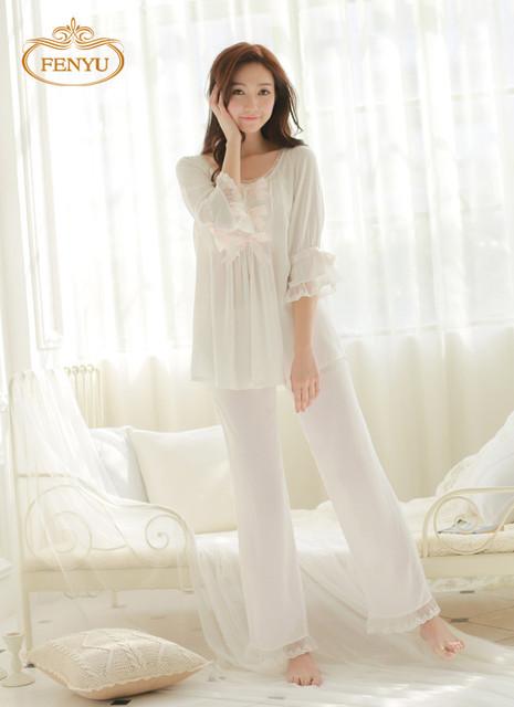 Бесплатная доставка принцесса женская белые пижамы брюки шнурка украшения пижамы ...