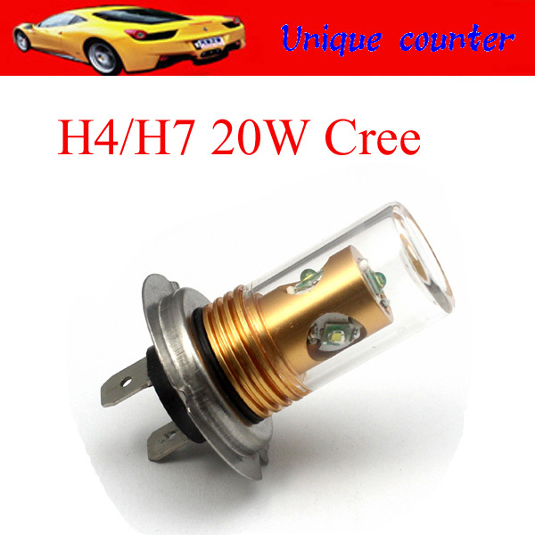 2pcs/lot super bright High power H4 H7 20W 4*5W Cree LED R4 Auto Car Fog Lights Bulb Xenon White DC12V