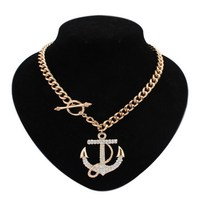 Vintage Exaggeration Jewelry Rhinestone Statement Necklace Austria Crystal Anchor Gold Filled Pendants Choker Necklace for Women