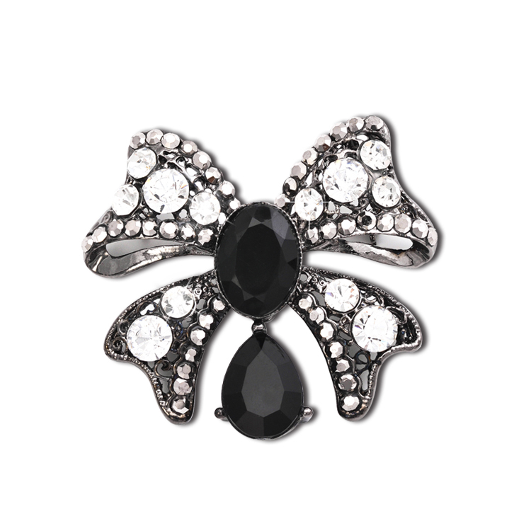 Cheap Black Rhinestone Brooches Women Broaches Collar Clip For Lover Dual Shiny Rhinestone Brooch Elegant Beaded Nice Jewelry(China (Mainland))