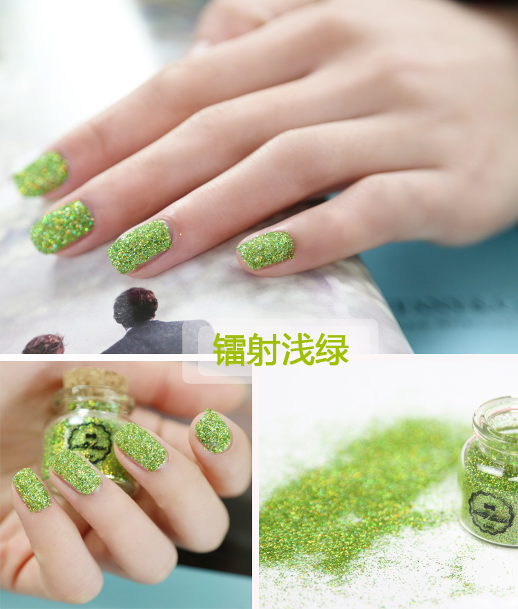 Laser light green Color Nail Art Glitter Powder Dust Decoration kit For Acrylic Tips UV Gel DIY Drop Shipping Wholesale(China (Mainland))