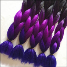 4-10pcs/Lot Black+Purple+Blue Ombre Kanekalon Braiding Hair Kanekalon Jumbo Braid Hair,Ombre Braiding Hair Synthetic Braids Hair