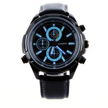 A estrenar de moda reloj de lujo de moda correa de cuero negro relojes hombres reloj de cuarzo de la alta calidad hombres deportes relojes de pulsera