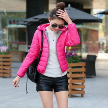 2016 Solid Jacket Women Camperas Mujer Light Down Jacket Hooded Slim Parkas Ladies Coat Plus Size Down Coats Female Outwear