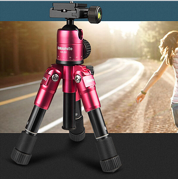 DHL Red Color Flexible 4 Sections Camera Cambofoto Tripod Portable Tripod Stand Compact Universal Metal Professional Tripod(China (Mainland))