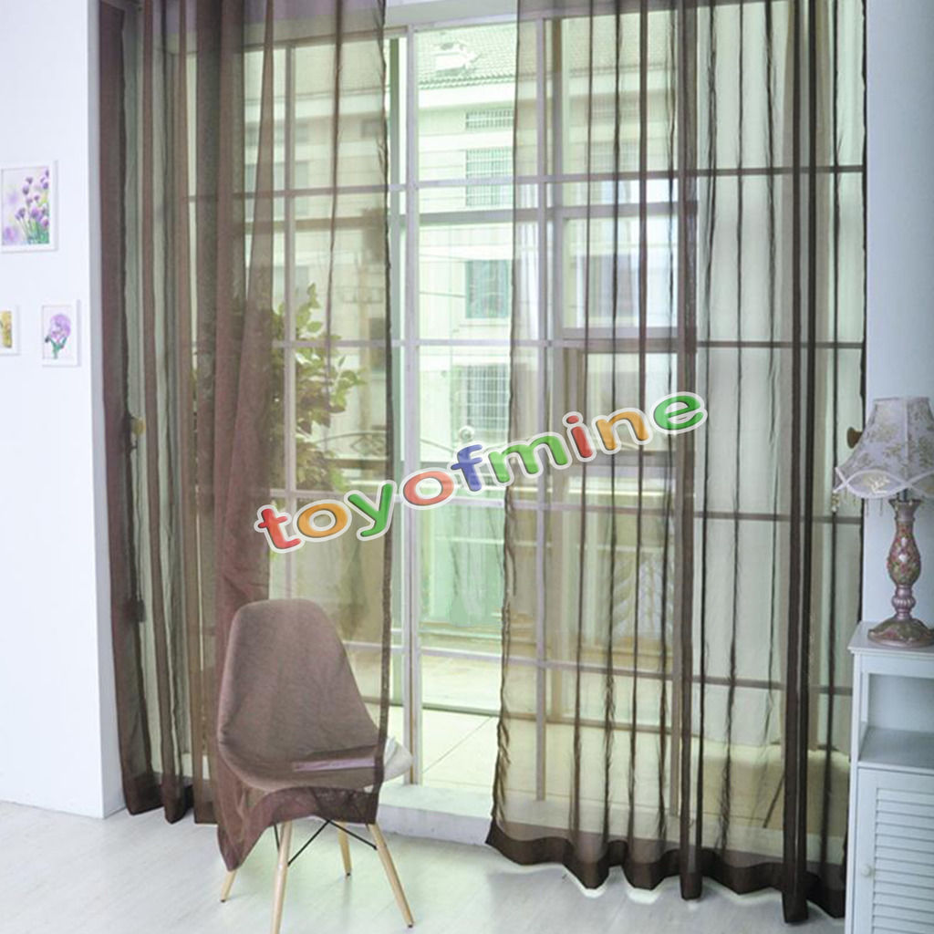 2 X Valances Tulle Voile Door Window Curtain Drape Panel Sheer Scarf Divider(China (Mainland))