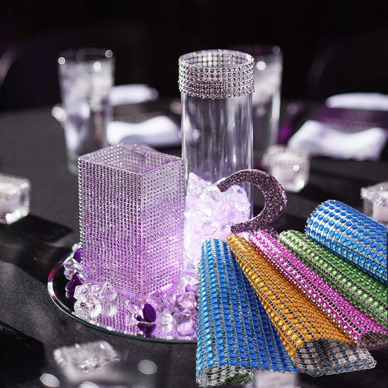 91.5cm 1 lot Rhinestone Chain Diamond Mesh Trim Wedding Decorations Bling Wrap Party Crystal Ribbon DIY Crafts Events Supplies(China (Mainland))