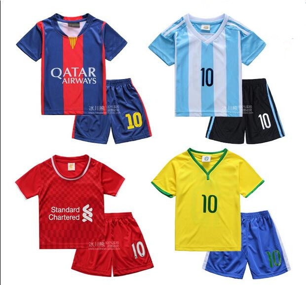 2016 children's clothing boys short-sleeved shirts Soccer Boy spring sportswear suit long-sleeved two-piece Argentina(China (Mainland))