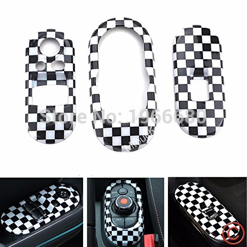 Car Accessories 3pc Checkered Pattern Union Jack Power Window Switch Center Console Panel Covers For 3rd MINI Cooper F56 2-Door<br>