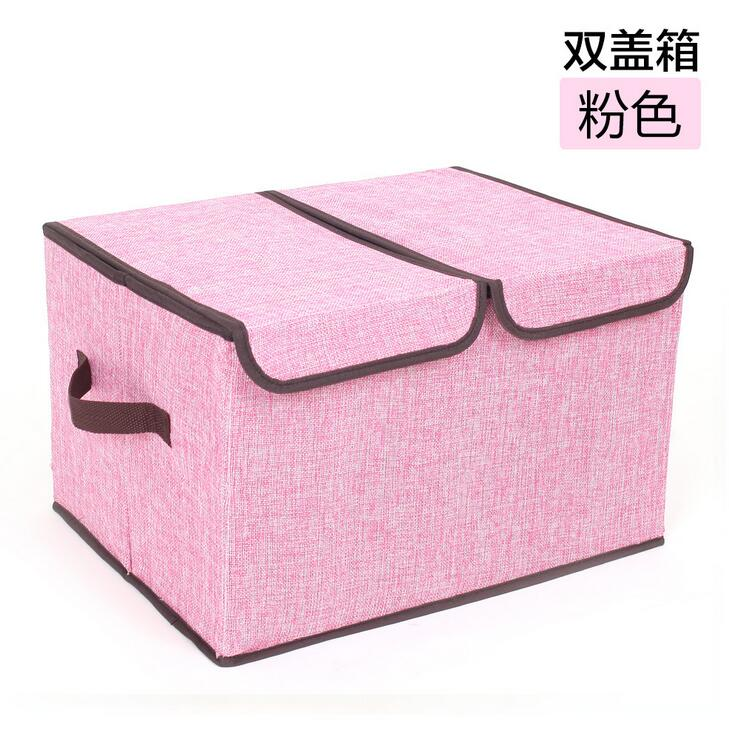 New Design Cotton Linen Storage Box 2 Grid Folding Clothes Bedding Organizer Sundries Toys Container Best GIFT(China (Mainland))