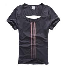 New style women short sleeve t shirt sport running gym bodybuilding shirts fitness womens tops brand clothing ropa deporte mujer(China (Mainland))