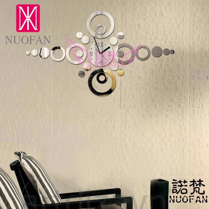 Buy ikea style silver black fashion mirror clock living room wall home - Miroir stickers ikea ...