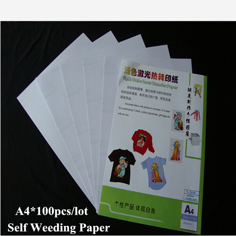 White Toner Self Weeding Laser Heat Fabric Transfer Paper No Need Cutting A4*100pcs Thermal Transfer Papel Paper For Clothes(China (Mainland))