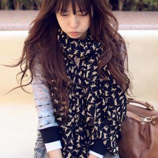 Silk chiffon small cat scarf autumn and winter female long design female scarf silk scarf