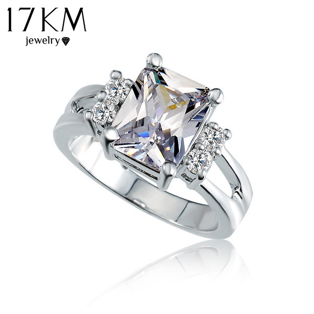 Crystal Shop Brand Design Delicate Shiny Square Big Stone Austrian Crystal Engagement Ring Zircon Wedding Rings For Women M12(China (Mainland))