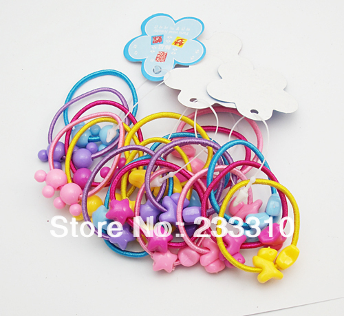 free shipping ! 40PcsX Girls Cute Hair Band Bobbles Pony Tail Elastic Heart Star Doggy Boutique(China (Mainland))