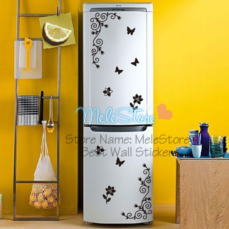 High quality creative kitchen cabinet refrigerator glass for Kitchen cabinets lowes with pink butterfly wall art