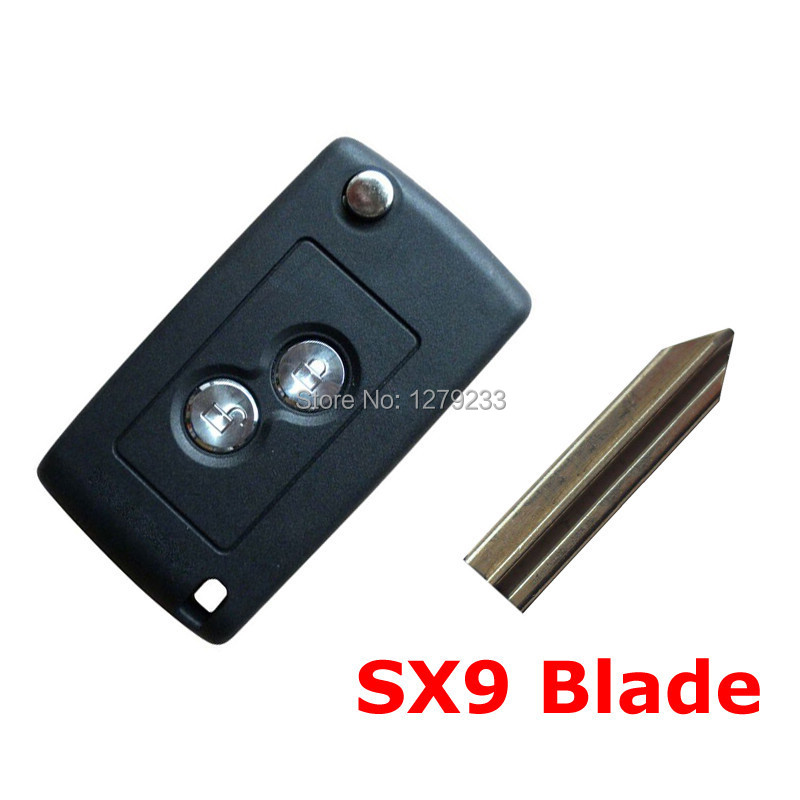 High quality  free shipping Car Flip Key Shell 2 Button with SX9 Blade for Citroen