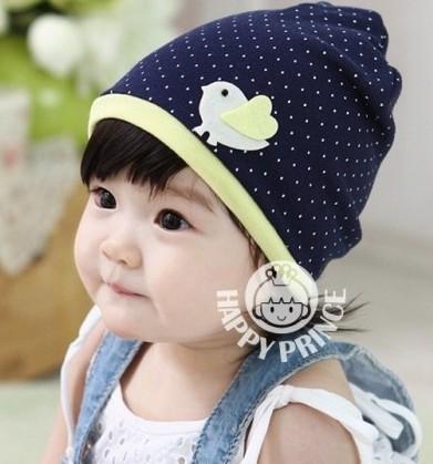 Cute Little Cartoon Bird Small Polka Dot 3-12 Month Baby Boys Girls Beanies Infants Caps Kids Hats 5pcs/Lot Free Shipping