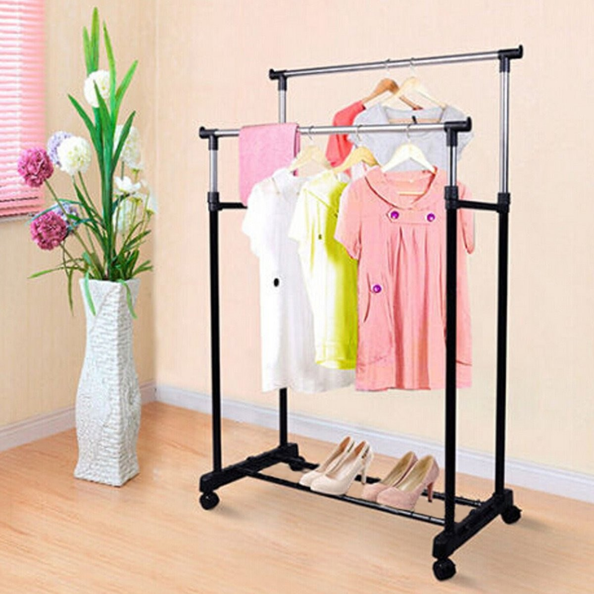 Adjustable Portable Clothes Coat Hanging Rail Stand On Wheel Double Garment Rack Home Room Storage Movable Clothes Drying Rack(China (Mainland))
