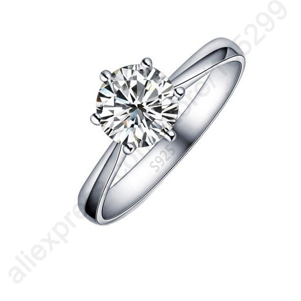 Гаджет  Hot One PC Classic Real Pure 925 Sterling Silver Jewelry Crystal Cubic Zirconia CZ 6 Claws Women Finger Rings Nice Gift None Ювелирные изделия и часы