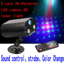 3 Lens36 Patterns RG LED remote laser light christmas DJ DISCO effect laser projector holiday party music control stage lighting(China (Mainland))