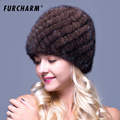 Genuine Mink Fur Women s Knitted Cap Russian Women Luxury Knit Mink Fur Hat Winter Real