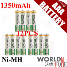 ON SALES!! FREE SHIPPING! BTY AAA 1350mAh Rechargeable Ni-MH Battery for LED Flashlight/Toy/PDA – B 12PCS/Lot (WF-RB035-12)